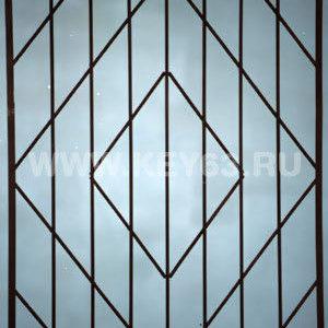Стальные решетки Т изготовлены из металлического прутка диаметр 12 мм (возможно изготовление решетки из прутков диаметром 10 мм, 14 мм, 16 мм, 18 мм, или квадрата 10х10 мм, 12х12 мм, 14х14 мм, 16х16 мм. Стальные решетки Т устанавливаются в оконных проёмах административных и производственных зданий, офисных помещений, магазинов, жилых помещений. Установка осуществляется на арматуру 16 мм или высокопрочные анкерные болты. В случае установки в промежуточном сечении проёма, крепление осуществляется через специальные отверстия в каркасе (коробке), а при монтаже в одном уровне с оконным проёмом  через выносные пластины.