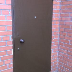 Стальная дверь без отделки изготовлена  из листа 2мм, рама и дверные ребра изготовлены из стального уголка 40 мм, размер рамы двери 0,8м х 2,0м (возможны любые размеры), устанавливаются петли диаметром 22 мм (возможны петли диаметром 25 мм, 30 мм), замки эльбор 1.03.03 и 1.04.04, медная дверная ручка круглая, глазок 160 градусов, покраска нитроцеллюлозной эмалью НЦ-132 коричневая или светло-серая, темно-серая, черная, возможна покраска молотковой эмалью, порошковая все по RAL, антики, крокодил, возможна врезка любых замков, установка уплотнителей, усиление рамы, рама с обналичкой (20ммх80ммх3мм), противосъемные штыри , утепление, установка доводчика DORMA (белый, серебристый, коричневый), магнитные замки.