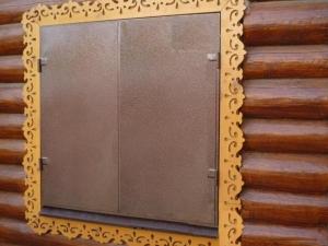 Металлические ставни изготовлены из листа 2мм (3 мм), рама и ребра жесткости изготовлены из стального уголка 40 мм(возможно изготовление из профильной трубы), размер рамы от 0,5м х 0,5м (возможны любые размеры), устанавливаются петли диаметром 22 мм(возможны усиленные петли диаметром 25 мм)